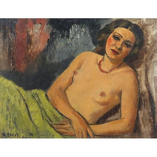 447 - Frantisek Zdenek Eberl - Semi nude reclining female, Impressionist oil on board, mounted and framed,...