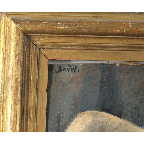 448 - Frantisek Zdenek Eberl - Semi nude reclining female, Impressionist oil on board, French C Gadin labe...