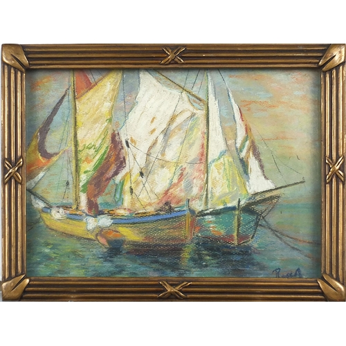 463 - Rocca - Boats in the Port of Algiers, pastel, Algiers Framers stamps verso, framed and glazed, 26.5c...