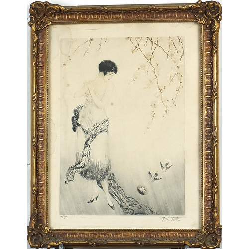 461 - Paul Emile Felix - Females and flowers, pair of signed Art Deco etchings in colour, framed and glaze...