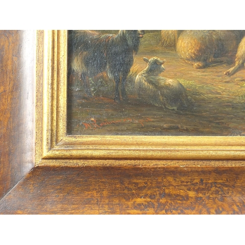 501 - Jan Van Ravenswaay - Farm scene with young boy and sheep, 19th century Dutch school oil on wood pane...