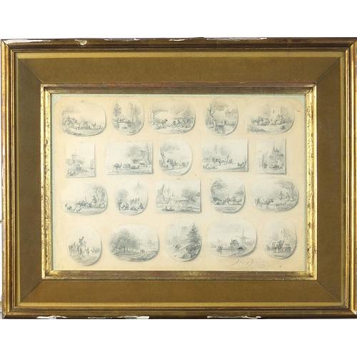 502 - Jan Van Ravenswaay - Landscapes and cattle, twenty 19th century Dutch miniature pencil sketches, mou...