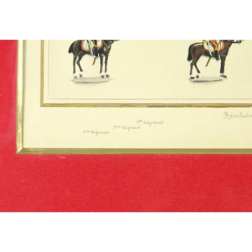 468 - Revolution Empire, Hussards, heightened watercolour, mounted, framed and glazed, 36cm x 27cm excludi...