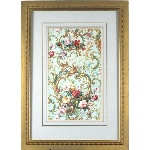 467 - Floral pattern with roses, French watercolour on card, indistinct French stamp verso, mounted and fr...