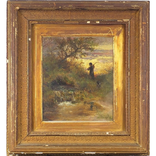 498 - Figure and dog beside water, antique oil on board, indistinctly signed, possibly ... Lewis?, mounted...