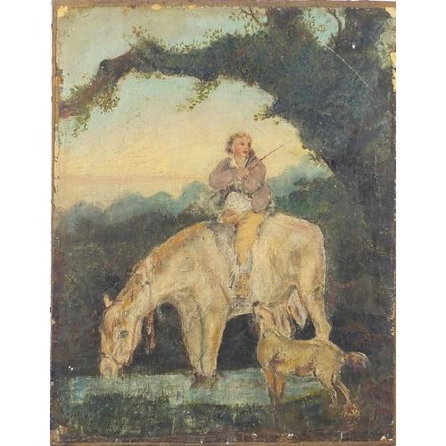 471 - Figure on horseback with a dog beside water, antique primitive oil on canvas, unframed, 44cm x 34cm