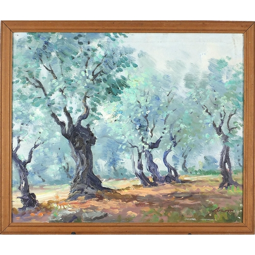 472 - Wooded landscape, continental oil on canvas, possibly South African or Australian, indistinctly sign...