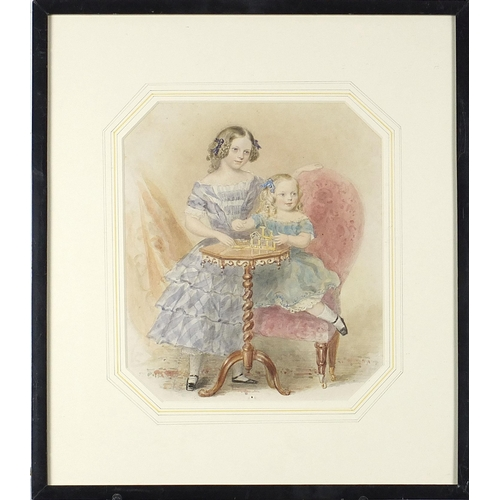 474 - Two children playing at a table, 19th century watercolour, mounted framed and glazed, 24.5cm x 20.5c...
