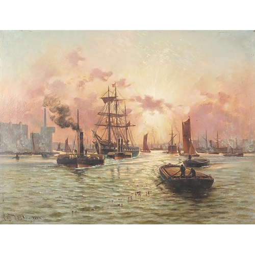 500 - Charles John De Lacy - Ships and paddle steamers, late 19th century oil on canvas, mounted and frame...