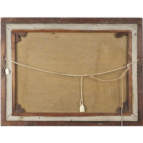 496 - Rocky coastal scene with seagulls, oil on canvas, framed, 59cm x 44cm excluding the frame