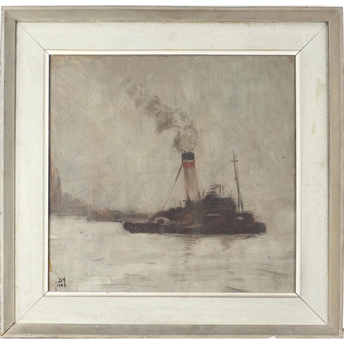 499 - Paddle steamer on water, mid 20th century Impressionist oil on board, monogrammed DN, mounted and fr...
