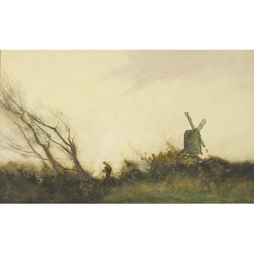 466 - William Tatton Winter - Figure and trees beside a windmill, watercolour, J H Steer label verso, moun...