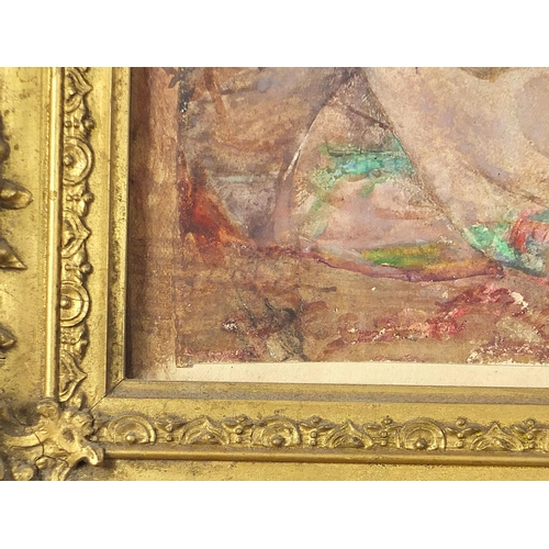 470 - Seated lady in an interior beside a globe, Pre-Raphaelite watercolour, mounted, framed and glazed, 5...