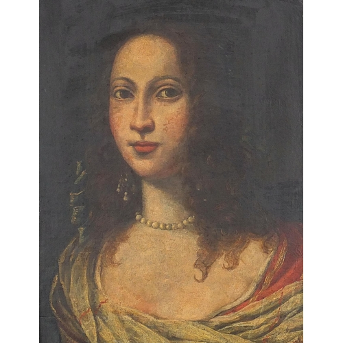 483 - Head and shoulders portrait of a female wearing 17th century dress, antique Old Master oil on canvas...