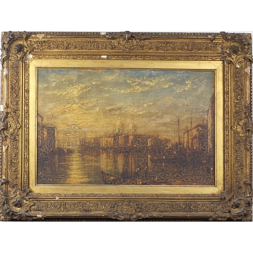 482 - Manner of Canaletto - Venetian canal with gondolas, antique oil on canvas, mounted and framed, 52cm ...