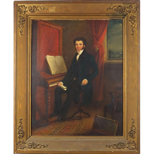 484 - Full length portrait of a seated gentleman beside a piano, early 19th century oil on canvas, mounted...