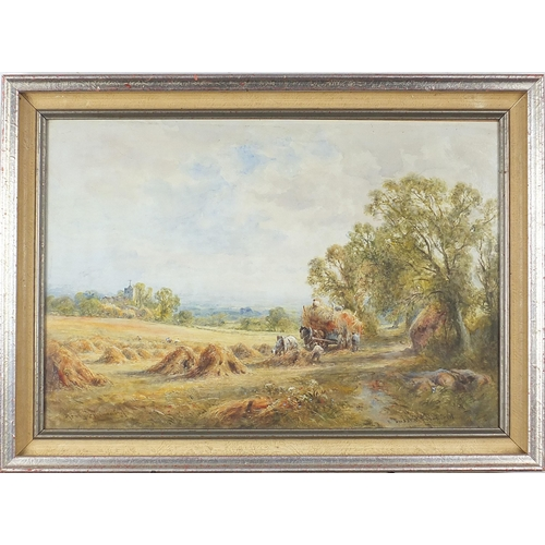 479 - Henry John Kinnaird - Figures haymaking, Sussex cornfield, watercolour, E Stacy-Marks label verso, m...