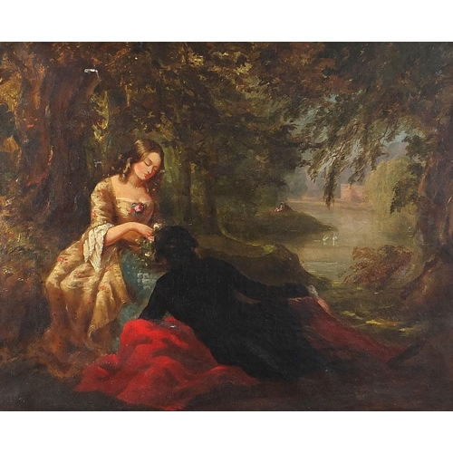 489 - Lady and gentleman before water and swans, antique oil on canvas, mounted and framed, 59.5cm x 49.5c...