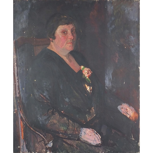 481 - Half length portrait of a seated lady wearing a black dress, 20th century oil on canvas, unframed, 7...