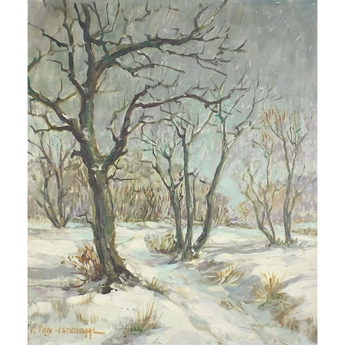 485 - Winter landscape with trees, oil on canvas, indistinctly signed, possibly V Van Istenaggl?, mounted ...