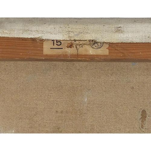 487 - Continental landscape with bridge, oil on canvas, unframed, 64.5cm x 54cm