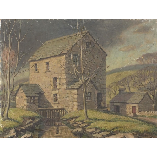 492 - House before trees and hills, oil on canvas, unframed, 61cm x 45.5cm