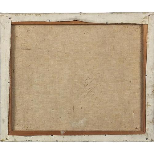 490 - Surreal composition, horses, oil on canvas, unframed, 45.5cm x 38cm