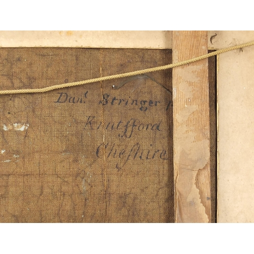 477 - Manner of Daniel Stringer - Mother and children at water, oil on canvas, inscribed verso Daniel Stri...