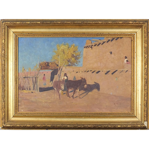 488 - Figures and donkeys, Middle Eastern oil on board, mounted and framed, 44cm x 29cm excluding the moun...