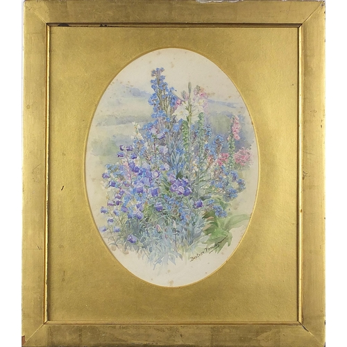 464 - Beatrice Emma Parsons - Still life flowers, oval watercolour, mounted, framed and glazed, 27.5cm x 2...