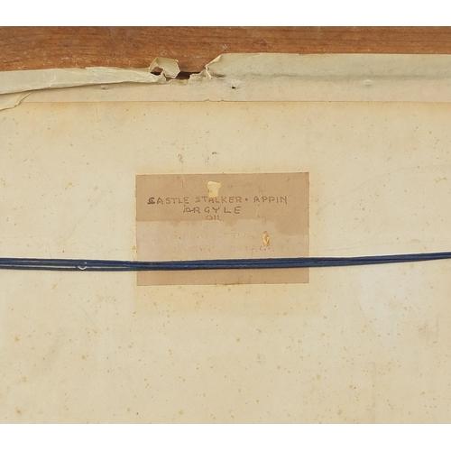 478 - Castle Stalker, Appin, Argyll, Scottish oil on board, mounted and framed, 44.5cm x 34.5cm excluding ...