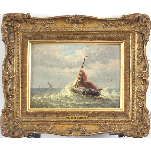 491 - Attributed to Louis Etienne Timmermans - Boats on stormy seas, 19th century Belgium school maritime ...