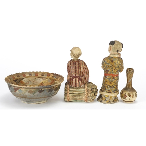 32 - Japanese Satsuma pottery comprising two figures, bowl and garlic head vase, the largest 16.5cm high