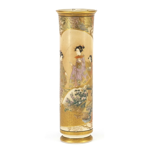 30 - Japanese Satsuma pottery vase finely hand painted with panels of figures, four figure character mark...