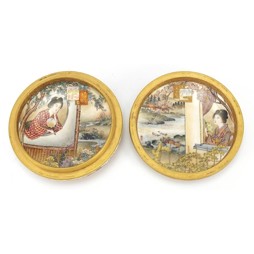 27 - Japanese Satsuma pottery box and cover finely hand painted to the interior and exterior with figures...