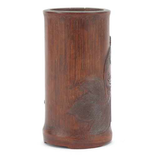 55 - Chinese bamboo brush pot finely carved with two qilins, 12cm high