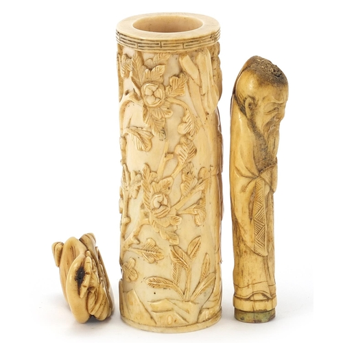 40 - Chinese ivory and bone carvings including a tusk section carved with a figure amongst flowers and a ...