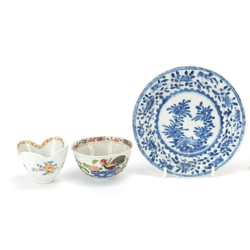 14 - Chinese porcelain including blanc de chine figurine of Guanyin, blue and white plates and tea bowl, ...