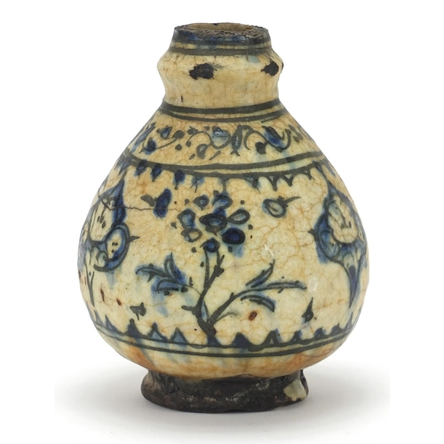 26 - Asian pottery baluster vase decorated in blue and white with black banding and flowers, possibly Ann...