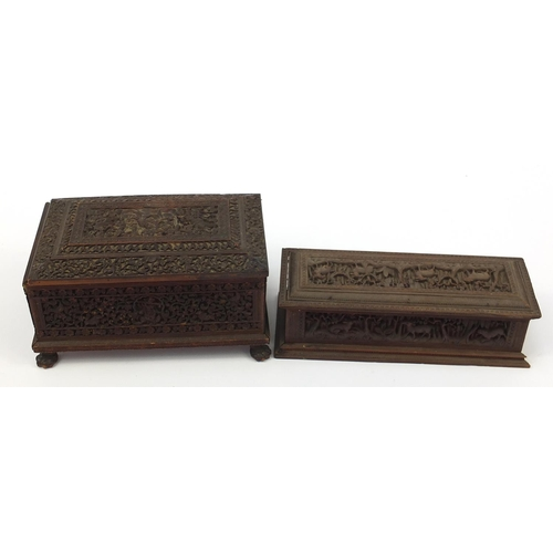 216 - Burmese sandalwood sewing box and a rectangular casket, each finely carved with mythical figures and...