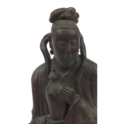 58 - Large Chinese root carving of an Empress holding a vase, 45.5cm high