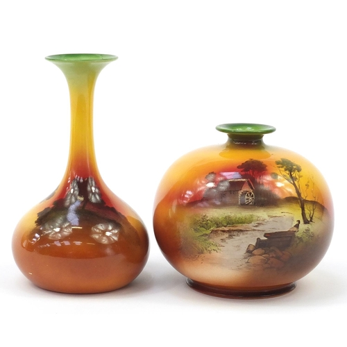 395 - Two Shelley vase decorated with Surrey landscapes, the largest 22cm high