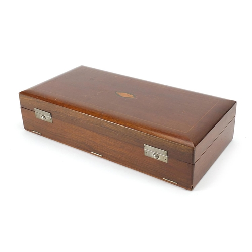 2331 - William Devonport, George V silver and tortoiseshell design pique work five piece dressing table set...