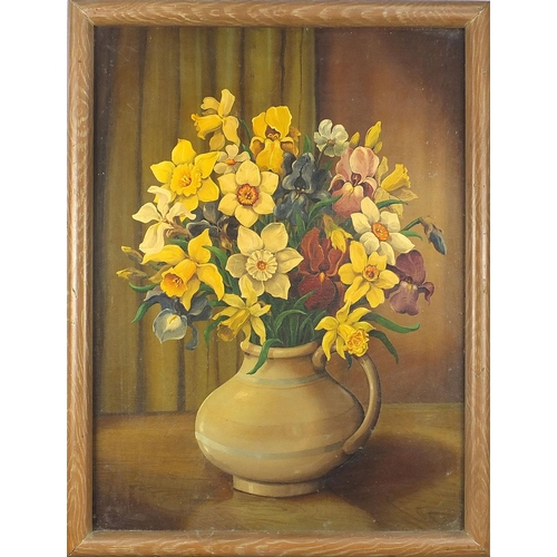 495 - Still life daffodils and tulips in a vase, pair of oil on boards, framed, each 54cm x 41cm excluding...