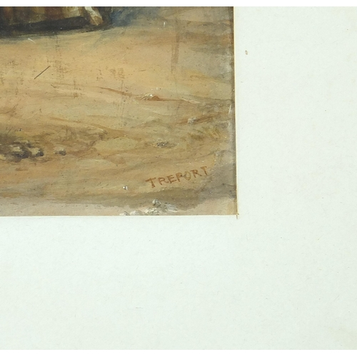 493 - E W James 1869 - French soldier at Treport, 19th century military interest oil, inscribed verso, mou...