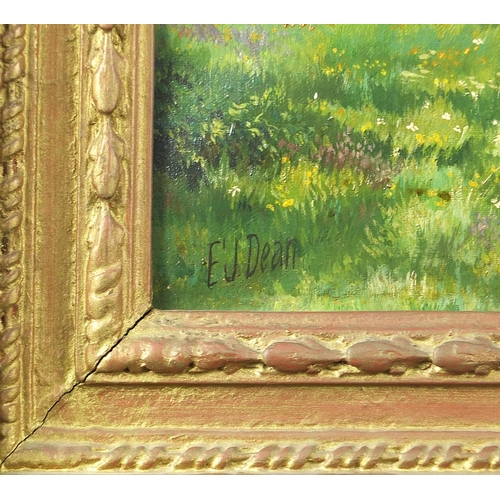 497 - Sheep grazing before blossom trees and mountains, oil on canvas, signed E J Dean, mounted and framed...