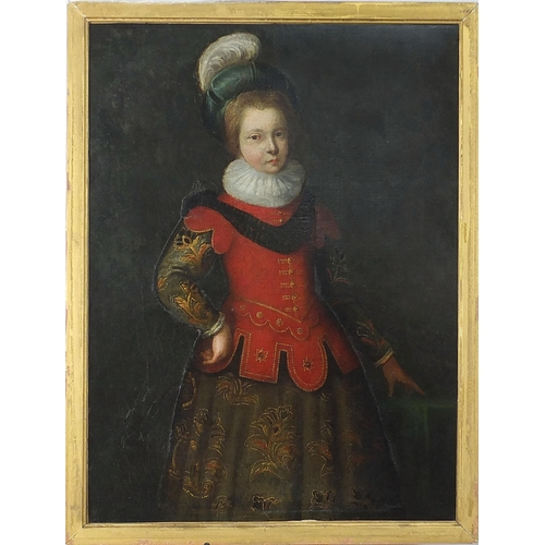 440 - Three quarter length portrait of a young girl wearing early 17th century dress, antique Old Master o...