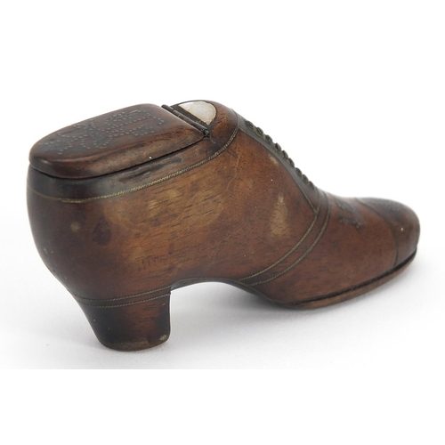 301 - 19th century treen stud work snuff box in the form of shoe, dated 1877, 9cm in length
