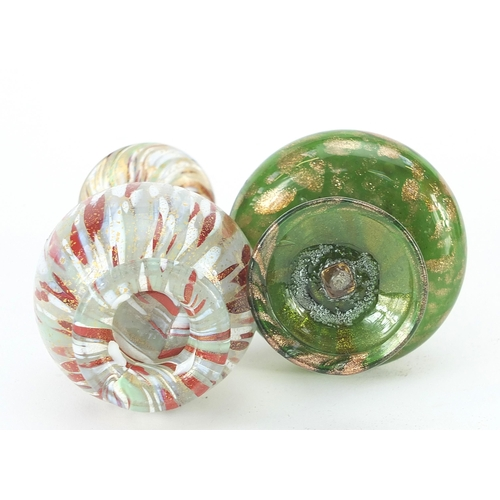 179 - Two Antique hand blown glass vases, one with green and gilt decoration, the other having red and whi...