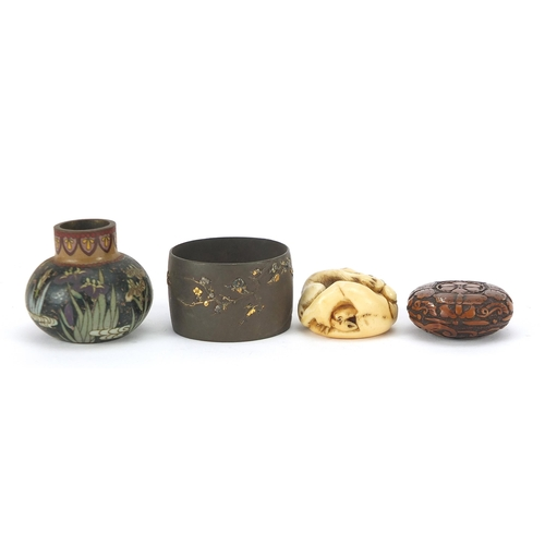 60 - Japanese objects including an ivory toggle, mixed metal napkin ring and cloisonne vase, the largest ...